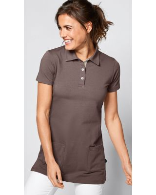 Polo long femme en single jersey