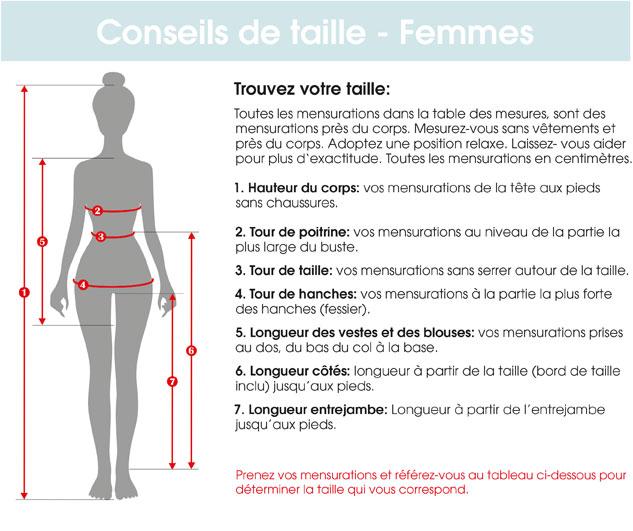 Conseils de taille femmes